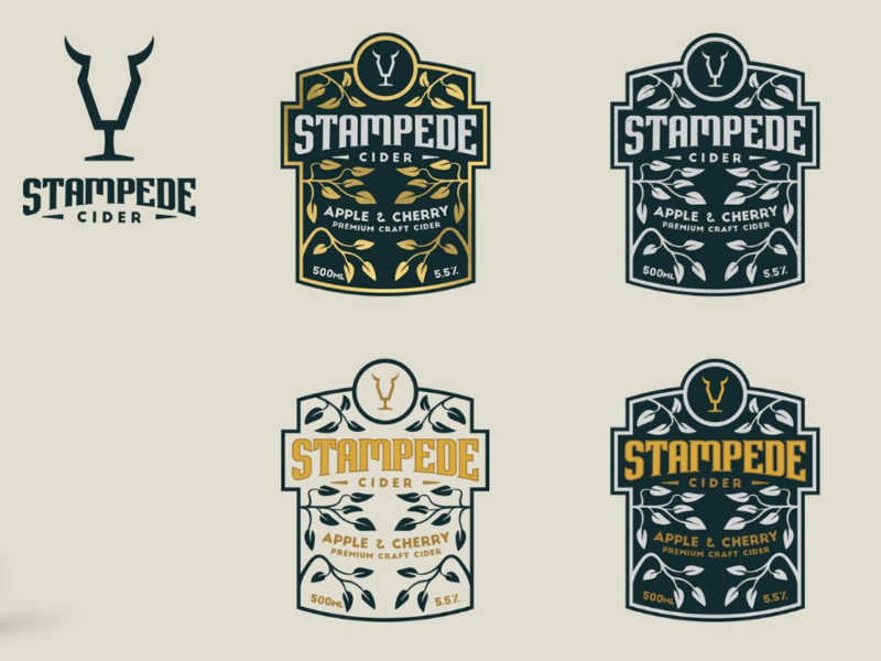 Stampede Cider logo cider packaging label
