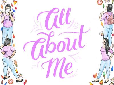All About Me design illustration lettering