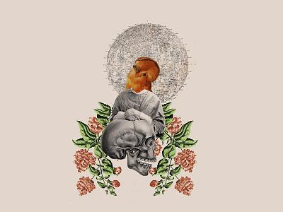 Collage flower skull bird collage