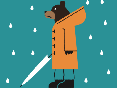 Bear in a rainy day rainy rain bear