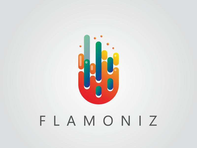 FLAMONIZ logo minimal minimalism logo illustration branding flat vector brand