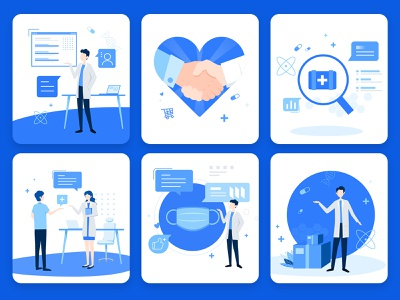 Medical powerpoint exercises blue web exercise design illustration vector