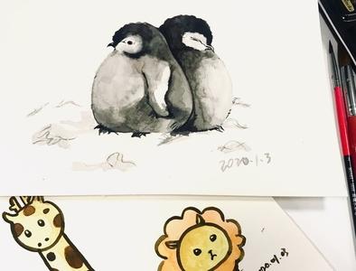 small animals animals giraffe lion logo penguin