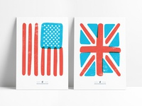 Flag Prints illustration sketch drawn flat prints overlap red blue clean simple abstract vector flags flag