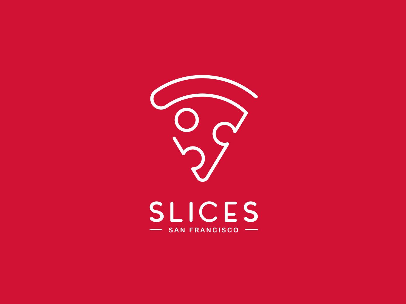 Slices San Francisco vector simple clean pizza identity branding design logo branding slices