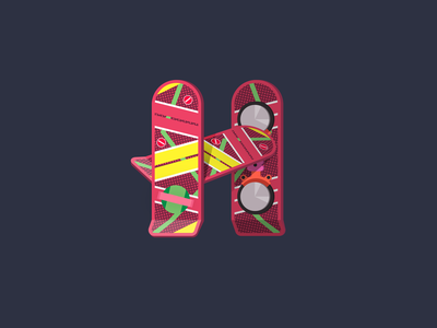 """Geek Alphabet """"H"""" is for Hoverboard marty mcfly h lettering letter typography 36dayoftype 26daysoftype illustration vector back to the future bttf hoverboard"""