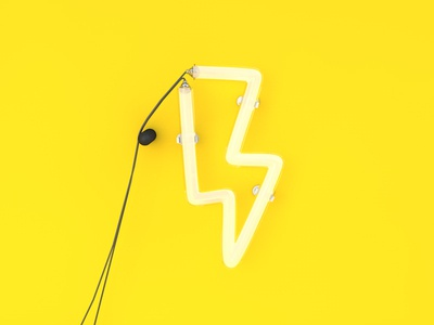 Lightning tube concept glass lamp lightning 3d c4d