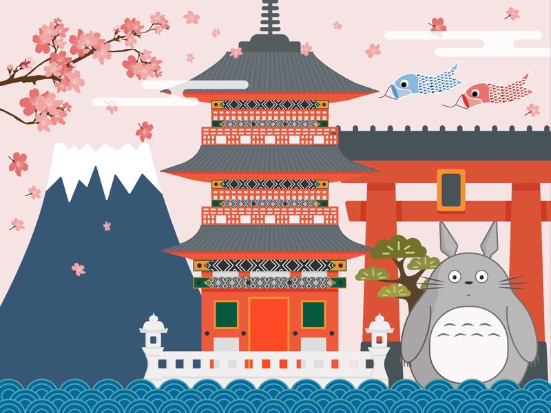 Japan japan country city digital art buildings illustration