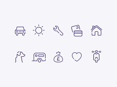 Insurance Icons bike life loan caravan pet house credit breakdown travel car icon insurance