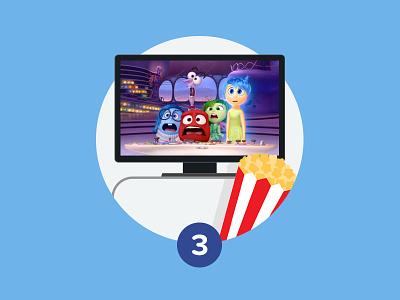 Step 3 - Start Watching process steps step icon popcorn tv watch