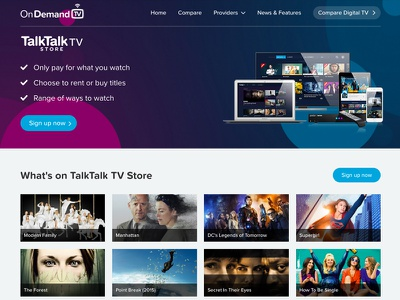 OnDemand TV comparison website web design first mobile tv ondemand website compare