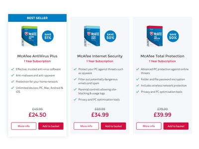 Compare products design website virus anti-virus mcafee products compare