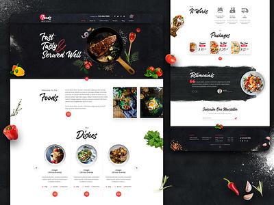 Foods Online Landing Page design illustration ux ui logo graphic design