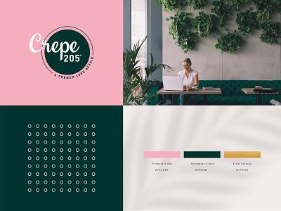 Crepe 205° Color Palette pattern logo french fourart color palette cafe logo brand identity