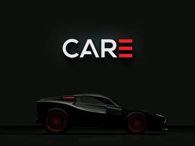 CARE black red automobile fourart care brand identity branding logo
