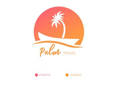 Palm Travel Logo logo 2d gradient agency travel vector illustration branding negativespace negative space negative minimalist clean designs creative modern design logo design logo