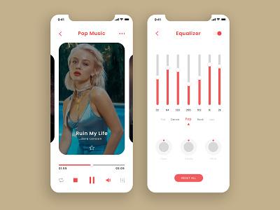 Music App minimalist clean creative modern apple iphone pantone red equalizer ui design uidesign ui application app design app designs designer design music app music