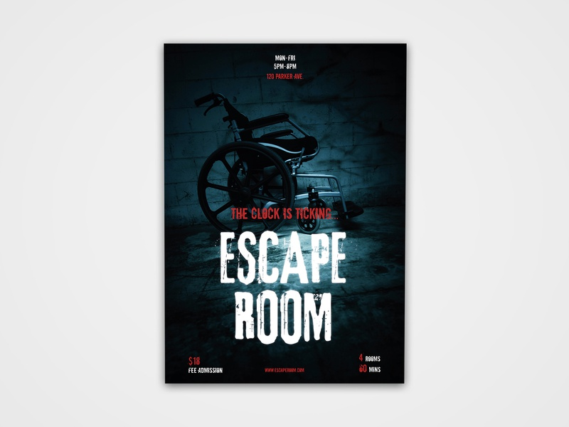 Escape Room Poster event print design print modern creative dare escher creepy scary designs design poster design poster room escape room escape