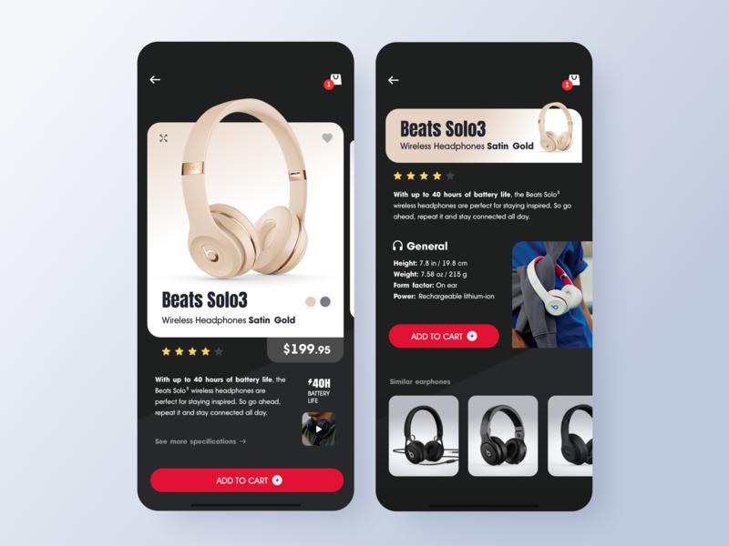 Concept Design - Headphones Mobile App uiux typography uxdesign app design shopping iphonex apple headphones beats ux design ios app shop app ios home app ui ui design minimalist minimal icon design