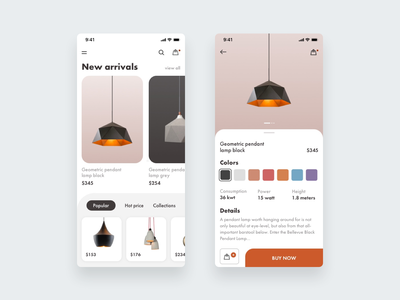 E-commerce pendant lamps shop iphone iphonex minimal ios application app clean ux ui icons icon vector typography design