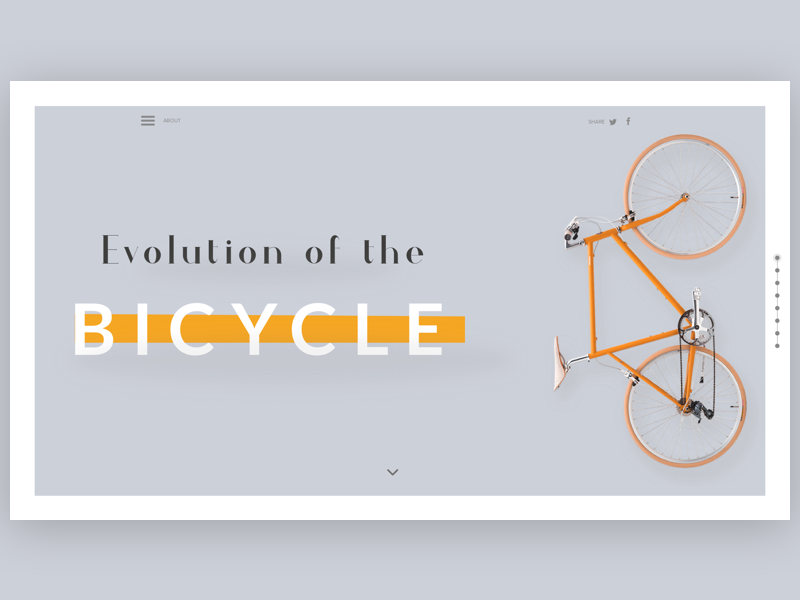 Evolution of the bicycle onepage bike ui ux clean web bicycle