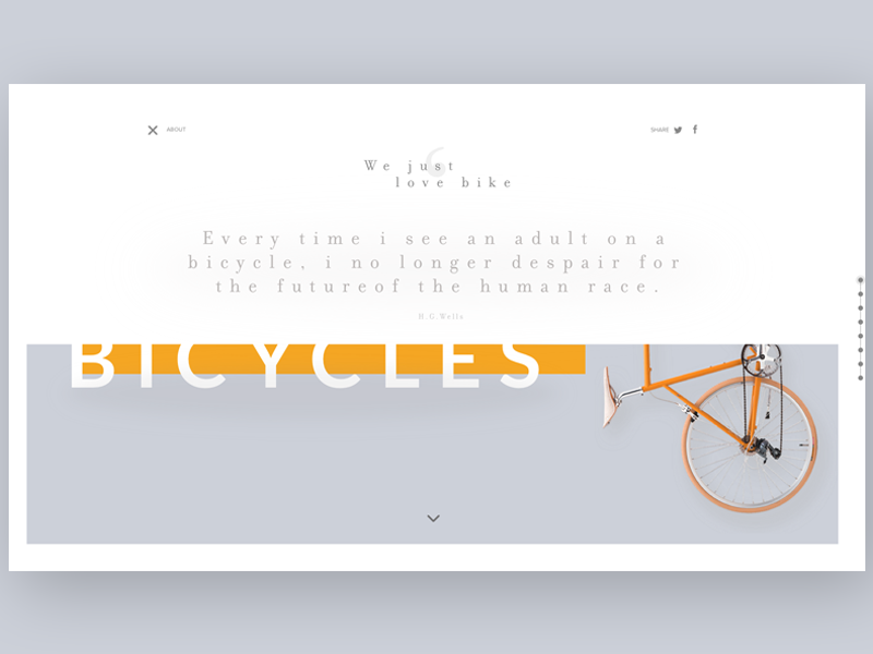 Evolution of the bicycle ~ Menu open onepage web ui ux type clean bicycle bike