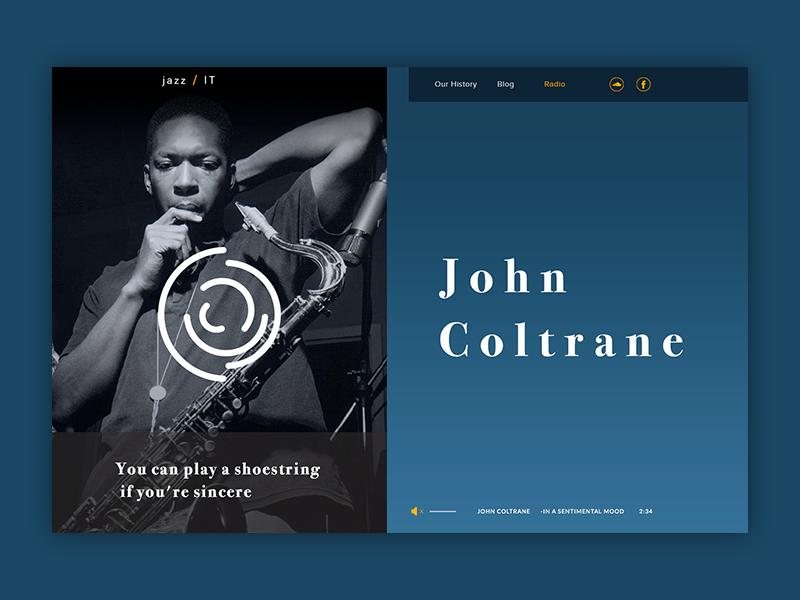 Jazz Radio John Coltrane design ui ux interface clean colors radio responsive site web music jazz