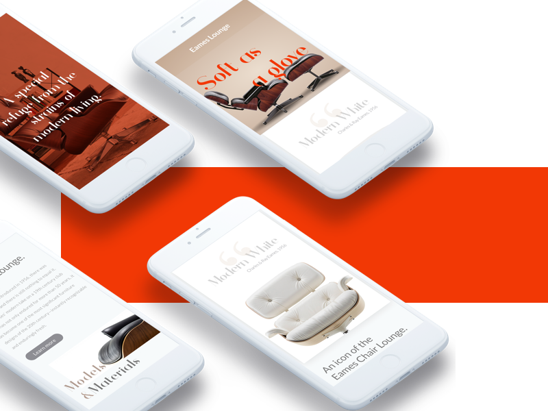 Eames Lounge Chair ux ui design product clean responsive landing