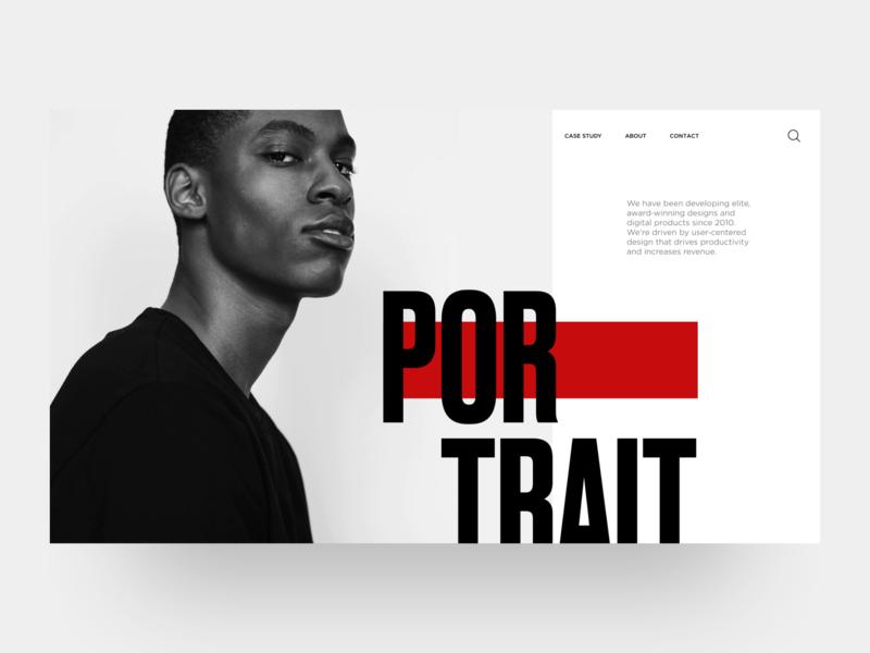 Portfolio hero header landing page concept portrait inspiration dailyui grid layout grid minimal clean black  white black portfolio landingpage web design ui