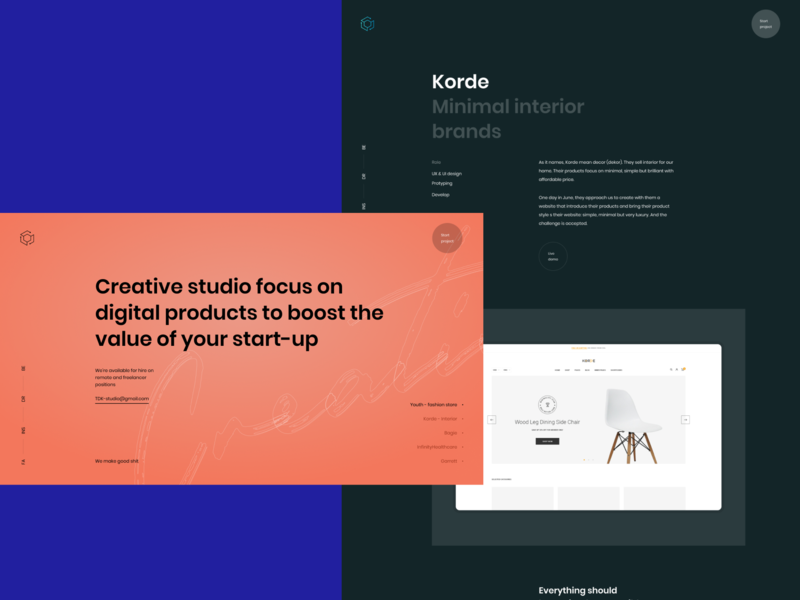 TDK-Studio. Homepage background dark black uiux clean ui hero header column typography typo grid layout grid creative concept clean minimal simple red color homepage