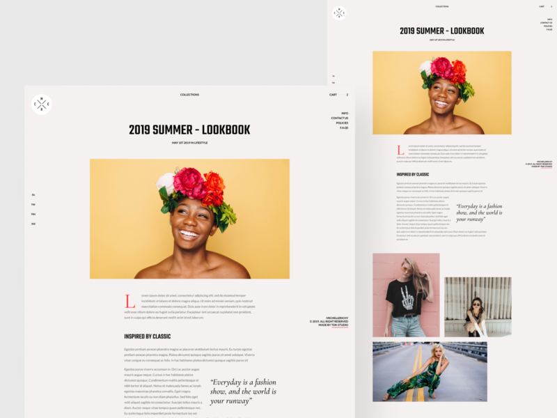 Fashion store- Blog page post quote pinterest concept grid layout grid typography classic minimal clean splitscreen magazine news article blog