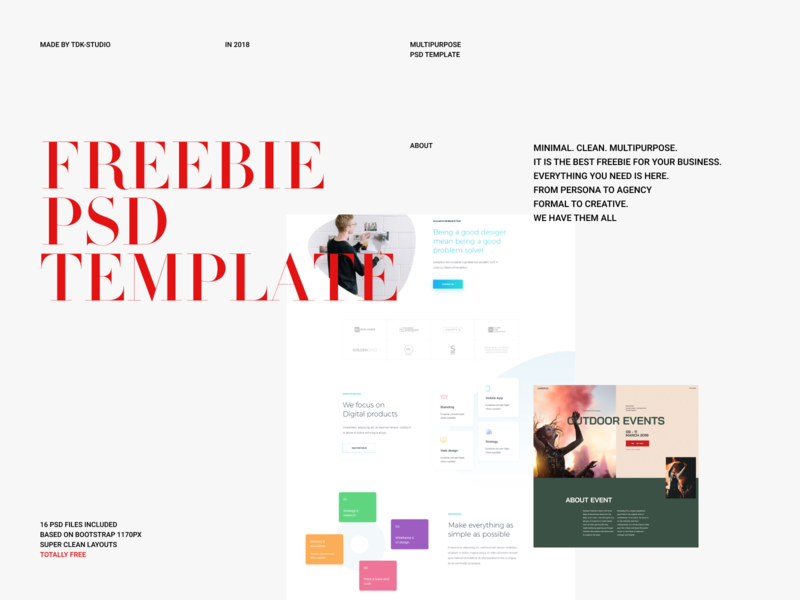 [Freebie] - Multipurpose PSD template multipurpose multiple creative clean uidesign ui psd template web design psd freebie psd free freebie