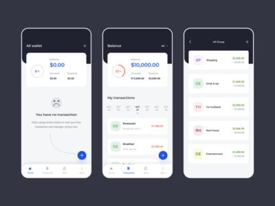 Money manager application app financial finance fintech admin analytics dashboard creative shadow emptystate empty minimal clean clear