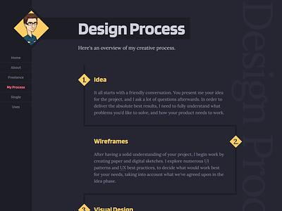 Portfolio 2020 WIP dark theme minimal modern flat processor designer freelance frontend portfolio