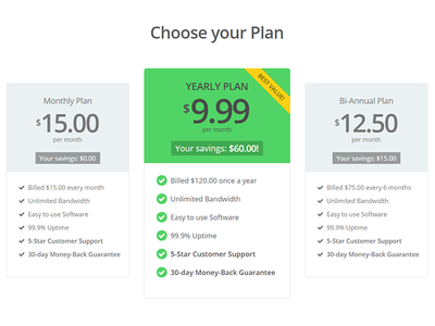 Pricing Table Design v2 pricing table green clean flat