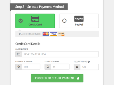 One-Page Checkout Payment Methods ui design web design form purchase checkout paypal credit card payment payment method