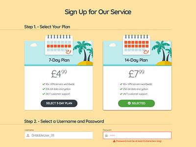 VPN Site Payment Form - Part 1 checkout ui  ux web design flat order summary plans payment method credit card form signup form payment form vpn