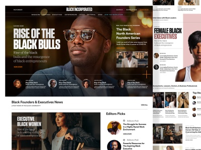 Black Incorporated Magazine uidesign design wireframe web editorial design editorial black layout branding blog ux homepage magazine website ui landing