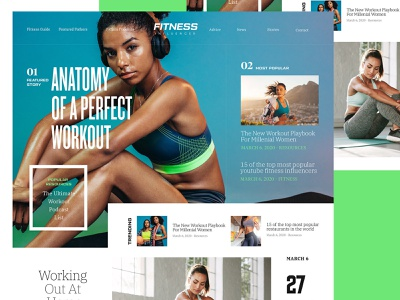 Fitnessmagazine Rebound fitness onepage blog design website homepage magazine ui landing