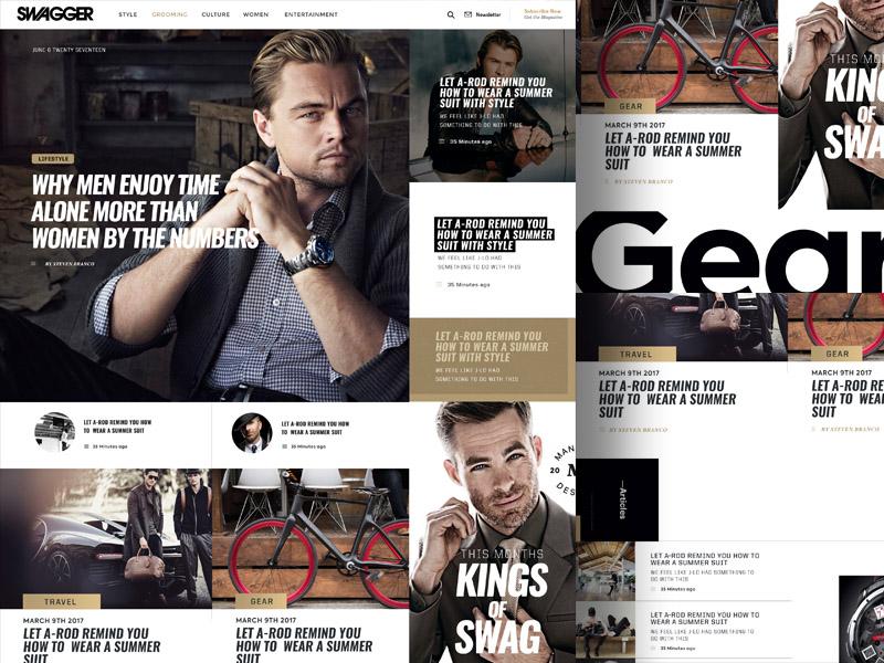 Swagger Magazine/Blog Layout Design landing wordpress website ui portfolio masonry magazine grid flat classy blog app