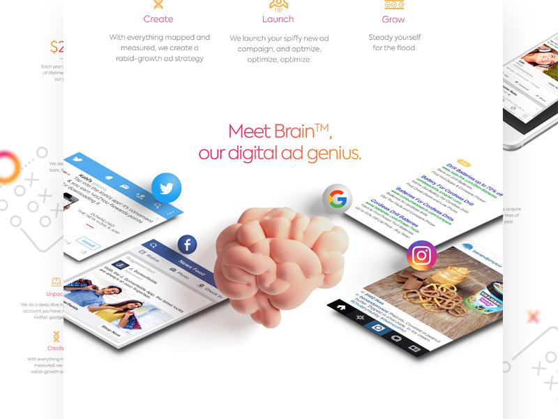 Brain Digital Ad Genius website ui layout iphone identity icon flat design close arrow app android