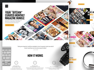 Magcrate (Magcr8) Landing Page subscription box web design layout grid flat website ui homepage e-commerce subscription magazine