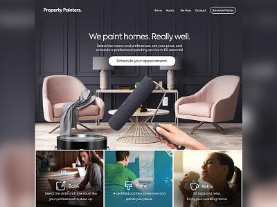 Property Painters website hero store paint ux ui typography branding painter onepage landing shopify