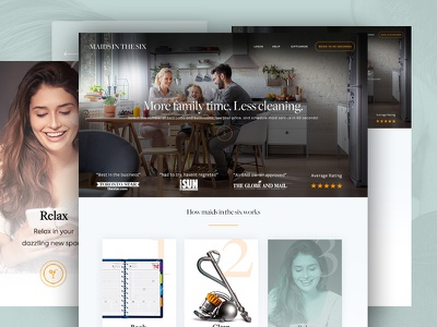 Design for a cleaning service design template theme onepage homepage cleaning maids webdesign ux ui landing flat