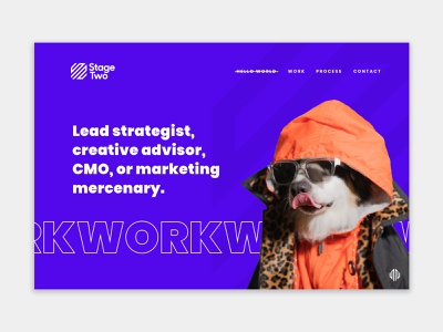 Stage Two - Marketing Agency Website Design visual design animal catching modern design lush vibrant colors cute website design webdesign bright colors dog ux ui marketing home screen homepage branding agency branding agency website web design