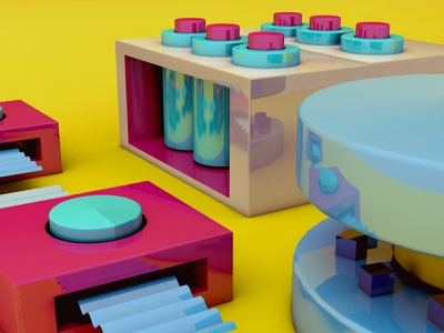 Tiny 3D Factory scene glossy machine pink object abstract illustration sweet cinema 4d cinema4d 3d art 3d factory