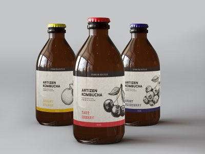 Kombucha Drink Label Design brand design identity branding branding brand homemade hand crafted craft vintage cherry packaging label design label drink health eco-friendly eco kombucha