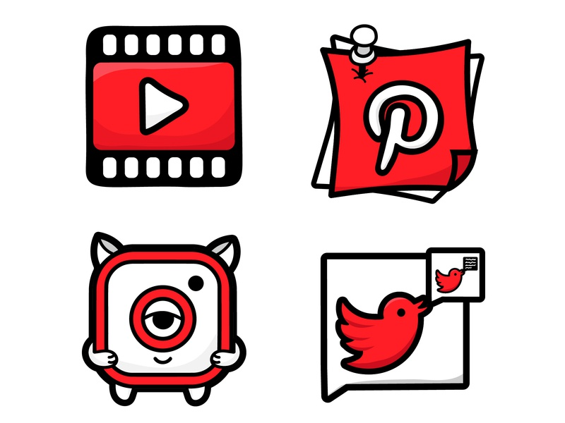 Styled Social Icons - Design Concept red vector design illustration tweet styled icons social app icon app icons youtube pinterest instagram twitter