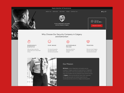 Security Company Home Page landing page homepage linear icons sketch figma wordpress design wordpress theme wordpress webdesign visual design safety patrol man masculine bold red security uidesign ux ui