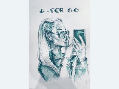 Auto portrait on paper
